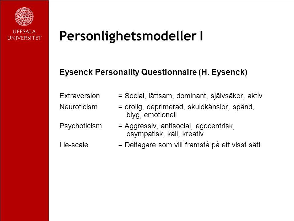 Personlighetsmodeller II Big Five (P Costa & R McCrae) Neuroticism Extraversion Conscientiusness = Noggrann, pålitlig Openness = Fantasi, estetik, nyfikenhet Agreeableness = Altruist, godtrogen, samarbetar