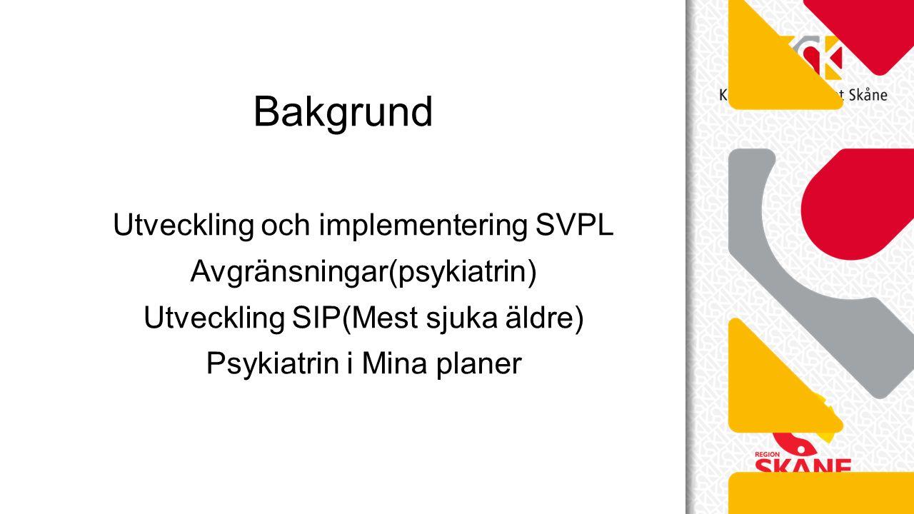 Utveckling och implementering SVPL Avgränsningar(psykiatrin) Utveckling SIP(Mest sjuka äldre) Psykiatrin i Mina planer Bakgrund