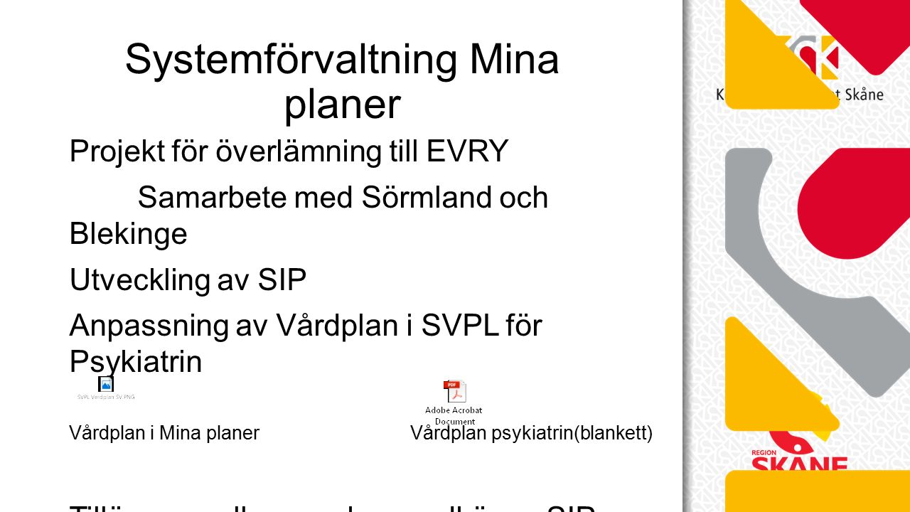 Projekt för överlämning till EVRY Samarbete med Sörmland och Blekinge Utveckling av SIP Anpassning av Vårdplan i SVPL för Psykiatrin Vårdplan i Mina planerVårdplan psykiatrin(blankett) Tillägg av roller som kan godkänna SIP Systemförvaltning Mina planer