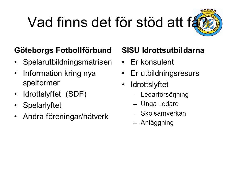 Vad finns det för stöd att få? Göteborgs Fotbollförbund Spelarutbildningsmatrisen Information kring nya spelformer Idrottslyftet (SDF) Spelarlyftet An
