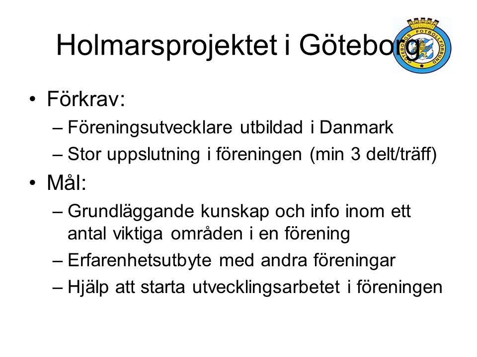 Holmarsprojektet i Göteborg Förkrav: –Föreningsutvecklare utbildad i Danmark –Stor uppslutning i föreningen (min 3 delt/träff) Mål: –Grundläggande kun