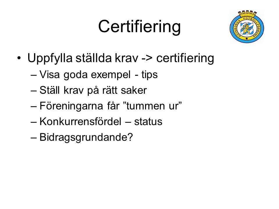 """Certifiering Uppfylla ställda krav -> certifiering –Visa goda exempel - tips –Ställ krav på rätt saker –Föreningarna får """"tummen ur"""" –Konkurrensfördel"""