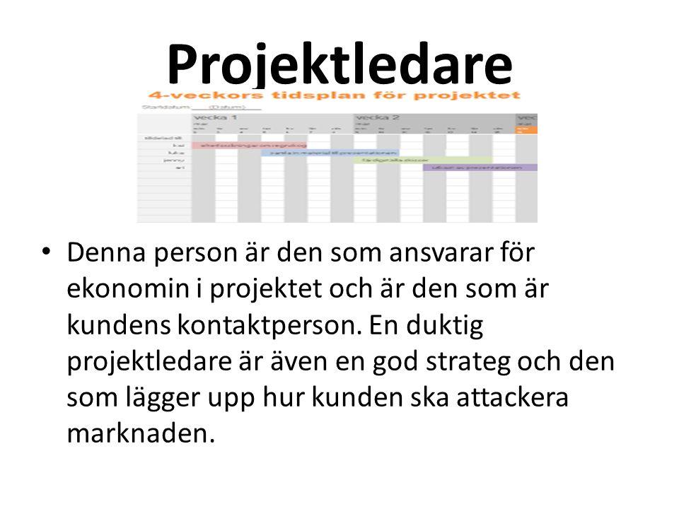Projektledare Denna person är den som ansvarar för ekonomin i projektet och är den som är kundens kontaktperson.