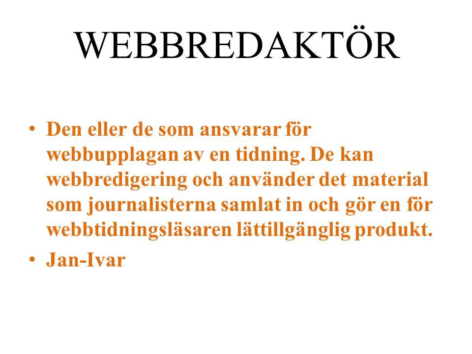 WEBBREDAKTÖR Den eller de som ansvarar för webbupplagan av en tidning.