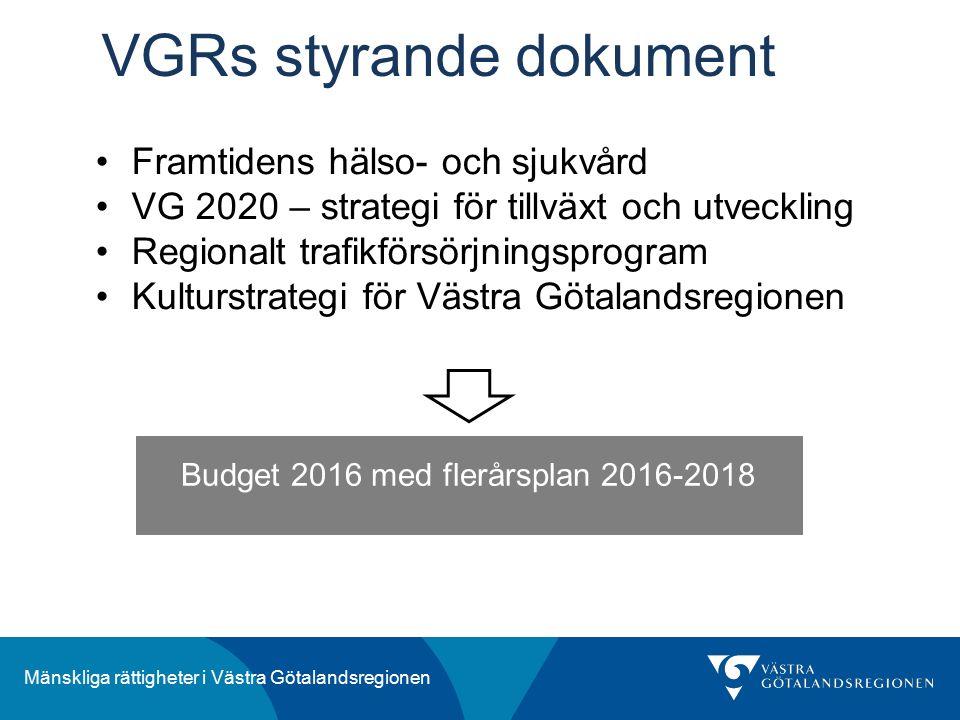 Mänskliga rättigheter i Västra Götalandsregionen VGRs styrande dokument Budget 2016 med flerårsplan 2016-2018 Framtidens hälso- och sjukvård VG 2020 – strategi för tillväxt och utveckling Regionalt trafikförsörjningsprogram Kulturstrategi för Västra Götalandsregionen