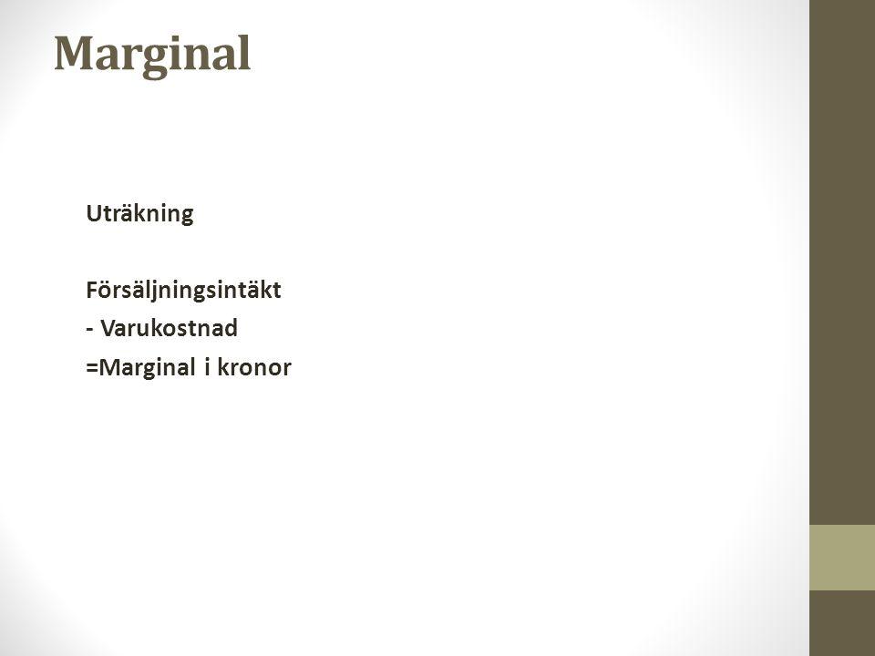 Marginal Uträkning Försäljningsintäkt - Varukostnad =Marginal i kronor
