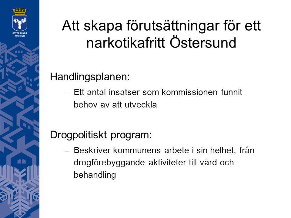 Att skapa förutsättningar för ett narkotikafritt Östersund Handlingsplanen: –Ett antal insatser som kommissionen funnit behov av att utveckla Drogpolitiskt program: –Beskriver kommunens arbete i sin helhet, från drogförebyggande aktiviteter till vård och behandling