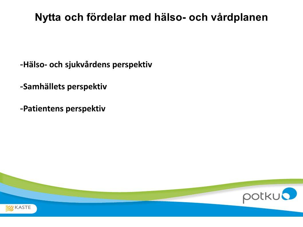 Nytta och fördelar med hälso- och vårdplanen - Hälso- och sjukvårdens perspektiv - Samhällets perspektiv - Patientens perspektiv