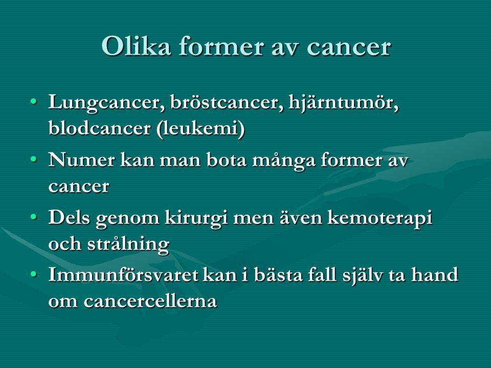 Olika former av cancer Lungcancer, bröstcancer, hjärntumör, blodcancer (leukemi)Lungcancer, bröstcancer, hjärntumör, blodcancer (leukemi) Numer kan man bota många former av cancerNumer kan man bota många former av cancer Dels genom kirurgi men även kemoterapi och strålningDels genom kirurgi men även kemoterapi och strålning Immunförsvaret kan i bästa fall själv ta hand om cancercellernaImmunförsvaret kan i bästa fall själv ta hand om cancercellerna
