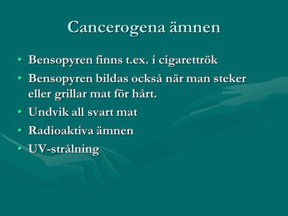 Cancerogena ämnen Bensopyren finns t.ex.i cigarettrökBensopyren finns t.ex.