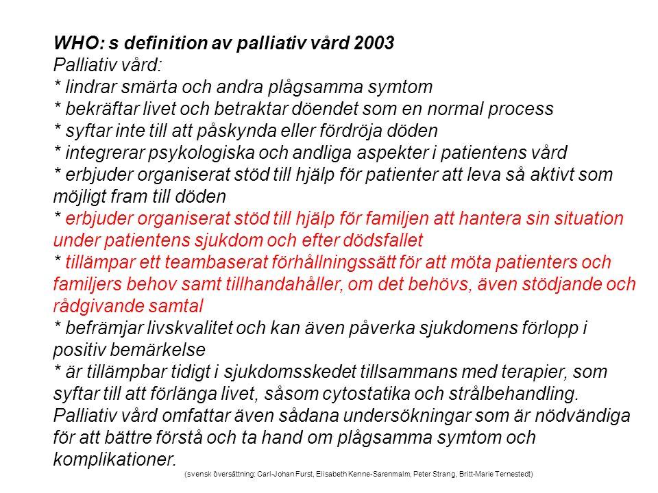 WHO: s definition av palliativ vård 2003 Palliativ vård: * lindrar smärta och andra plågsamma symtom * bekräftar livet och betraktar döendet som en no