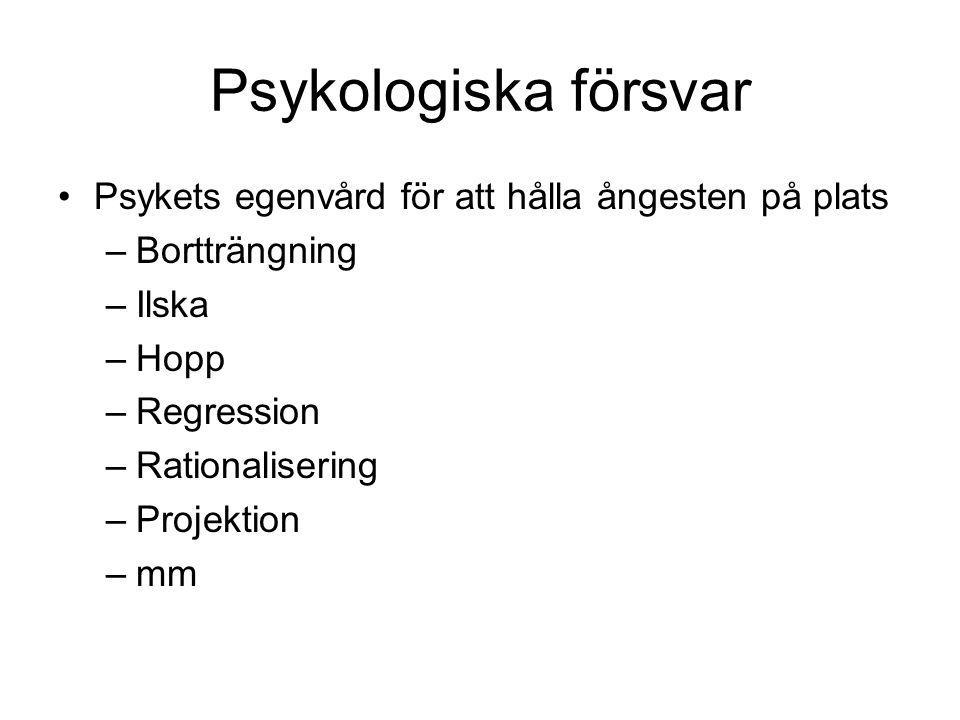 Psykologiska försvar Psykets egenvård för att hålla ångesten på plats –Bortträngning –Ilska –Hopp –Regression –Rationalisering –Projektion –mm