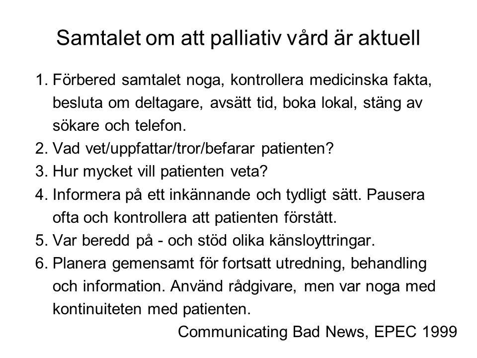 Samtalet om att palliativ vård är aktuell 1. Förbered samtalet noga, kontrollera medicinska fakta, besluta om deltagare, avsätt tid, boka lokal, stäng