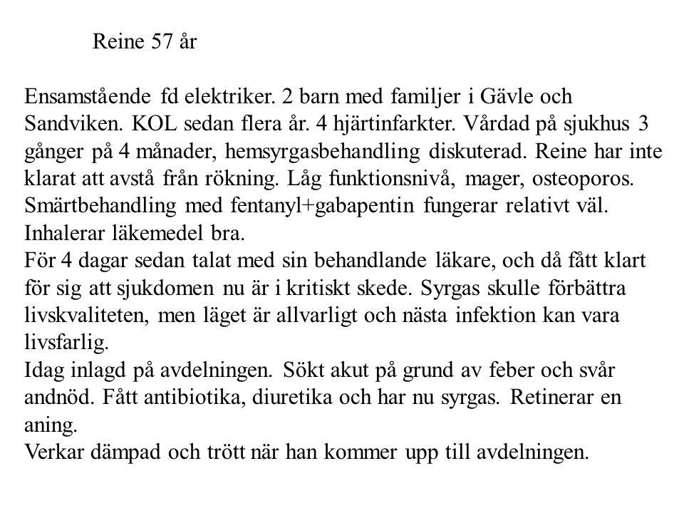 Reine 57 år Ensamstående fd elektriker. 2 barn med familjer i Gävle och Sandviken. KOL sedan flera år. 4 hjärtinfarkter. Vårdad på sjukhus 3 gånger på