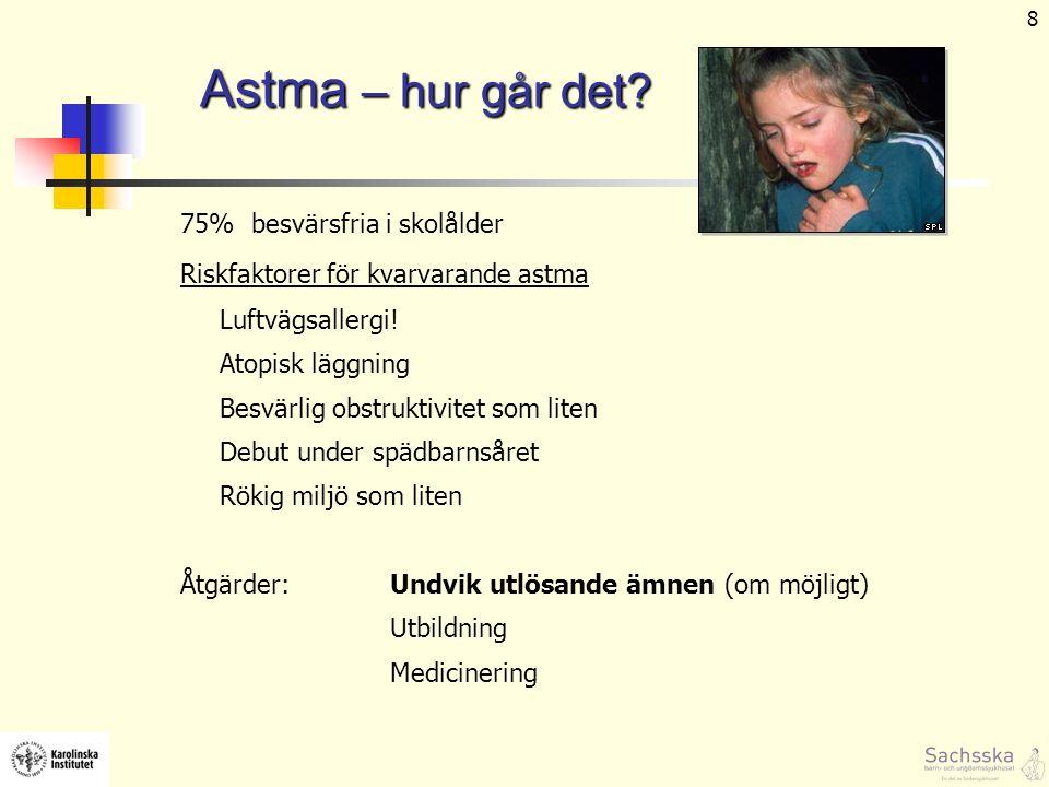 9 Atopiskt eksem - spädbarn Ju mer klåda och ju aktivare eksem – desto sannolikare att föda involverad Orsak Ärftlig benägenhet: ofta finns allergirelaterad sjd i familjen ca hälften av eksembarn har allergiantikroppar Ej allergi i sig, men eksemet förvärras av födoämnesallergi, vatten, kyla, svettning, stress och infektioner Behandling: undvik det man inte tål smörj !!!