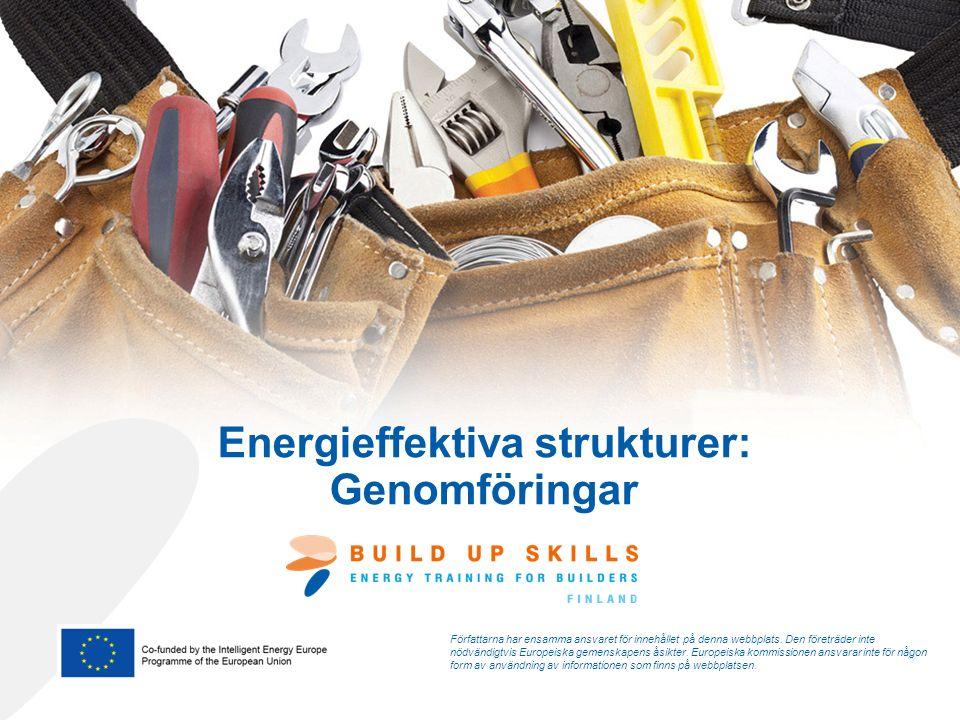Energieffektiva strukturer: Genomföringar Författarna har ensamma ansvaret för innehållet på denna webbplats.