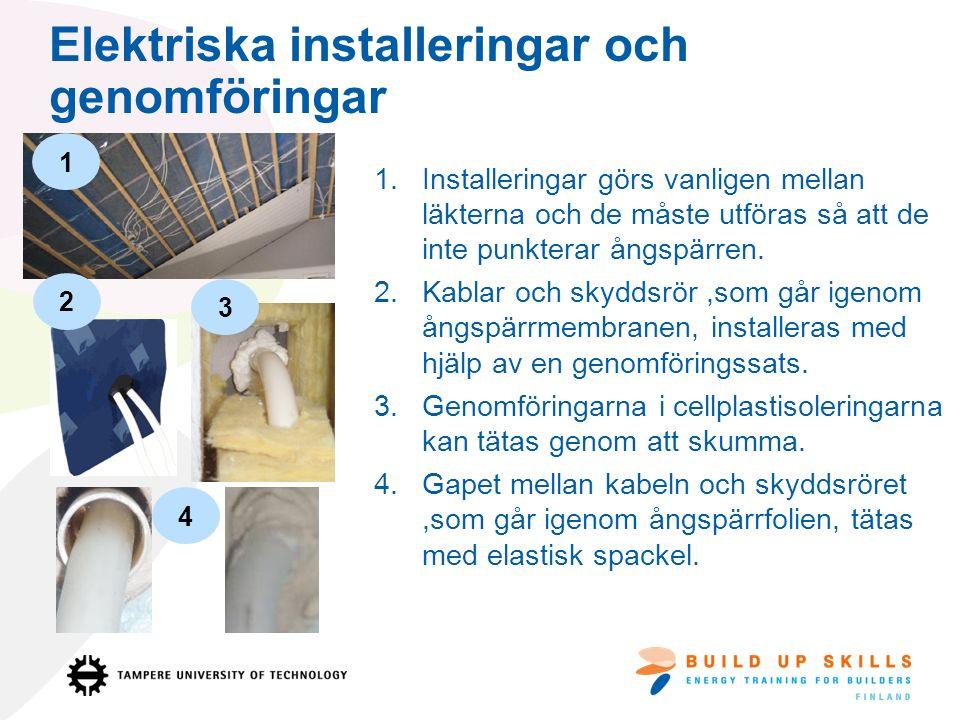 Elektriska installeringar och genomföringar 1.Installeringar görs vanligen mellan läkterna och de måste utföras så att de inte punkterar ångspärren.