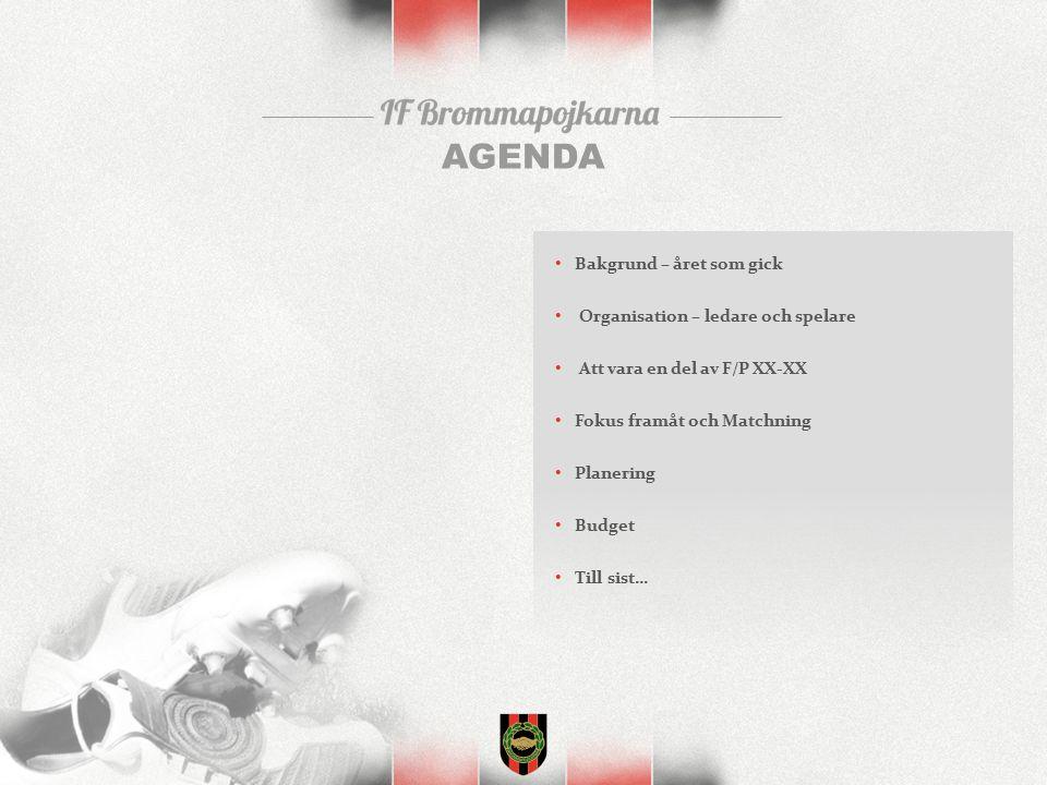 AGENDA Bakgrund – året som gick Organisation – ledare och spelare Att vara en del av F/P XX-XX Fokus framåt och Matchning Planering Budget Till sist…