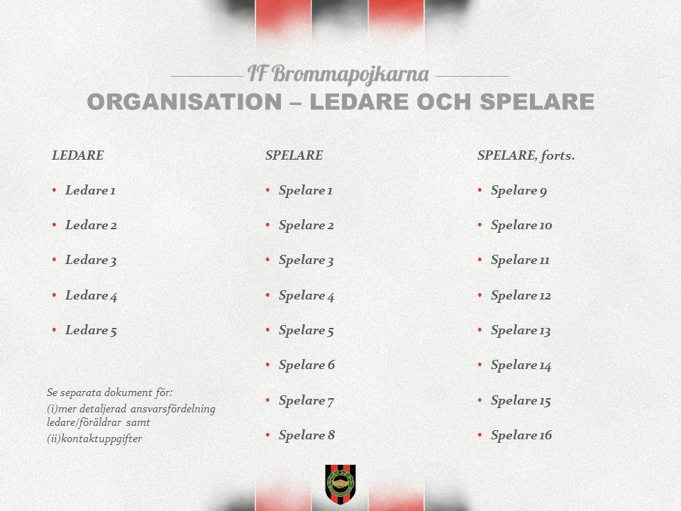 ORGANISATION – LEDARE OCH SPELARE LEDARE Ledare 1 Ledare 2 Ledare 3 Ledare 4 Ledare 5 SPELARE Spelare 1 Spelare 2 Spelare 3 Spelare 4 Spelare 5 Spelare 6 Spelare 7 Spelare 8 SPELARE, forts.