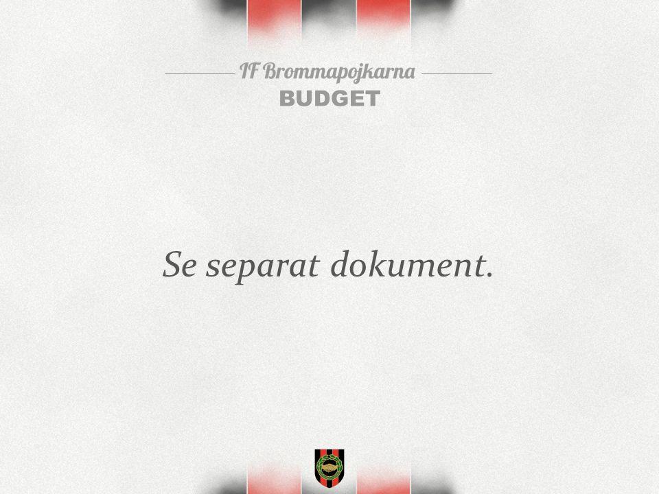 BUDGET Se separat dokument.