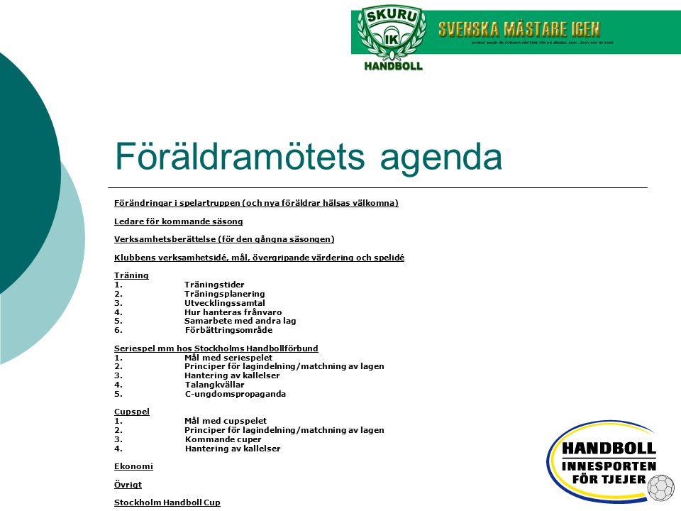 Föräldramötets agenda Förändringar i spelartruppen (och nya föräldrar hälsas välkomna) Ledare för kommande säsong Verksamhetsberättelse (för den gångn