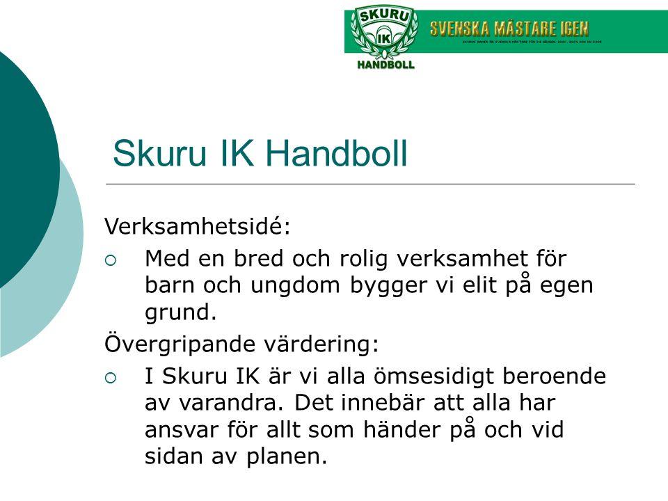 Skuru IK Handboll Verksamhetsidé:  Med en bred och rolig verksamhet för barn och ungdom bygger vi elit på egen grund. Övergripande värdering:  I Sku