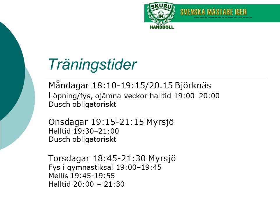 Träningstider Måndagar 18:10-19:15/20.15 Björknäs L öpning/fys, ojämna veckor halltid 19:00–20:00 Dusch obligatoriskt Onsdagar 19:15-21:15 Myrsjö Hall