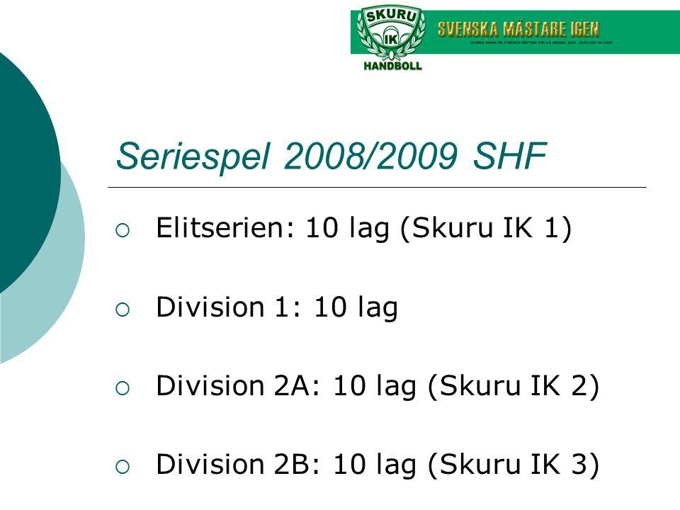 Seriespel 2008/2009 SHF  Elitserien: 10 lag (Skuru IK 1)  Division 1: 10 lag  Division 2A: 10 lag (Skuru IK 2)  Division 2B: 10 lag (Skuru IK 3)