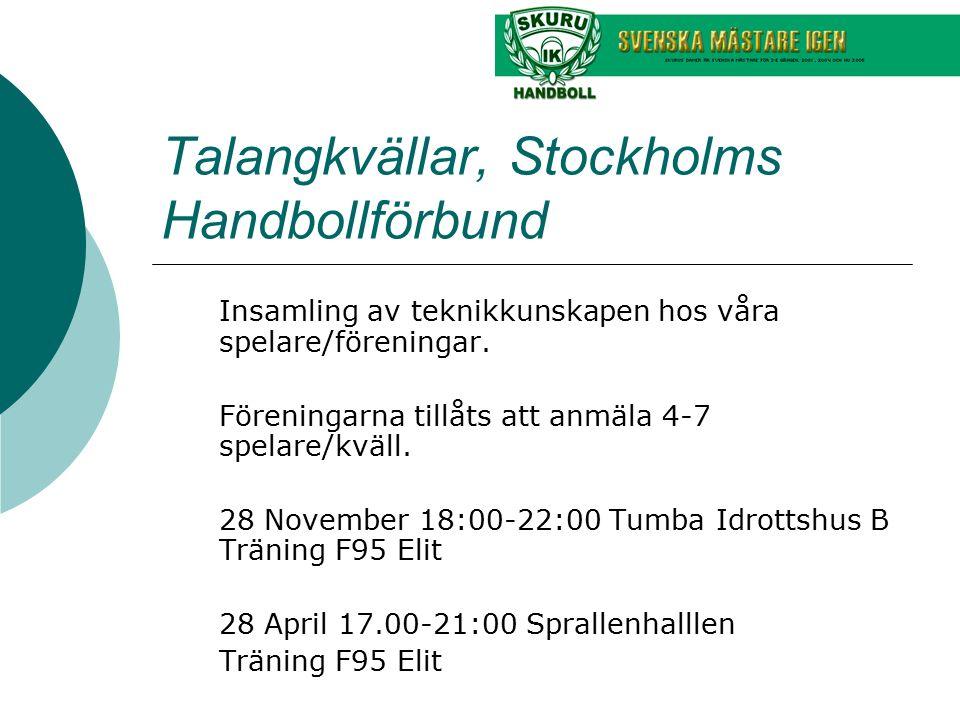 Talangkvällar, Stockholms Handbollförbund Insamling av teknikkunskapen hos våra spelare/föreningar. Föreningarna tillåts att anmäla 4-7 spelare/kväll.