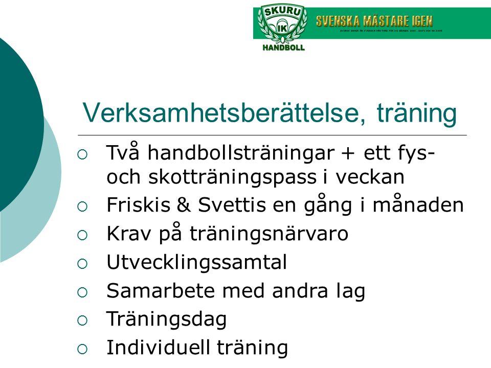 Verksamhetsberättelse, träning  Två handbollsträningar + ett fys- och skotträningspass i veckan  Friskis & Svettis en gång i månaden  Krav på träni