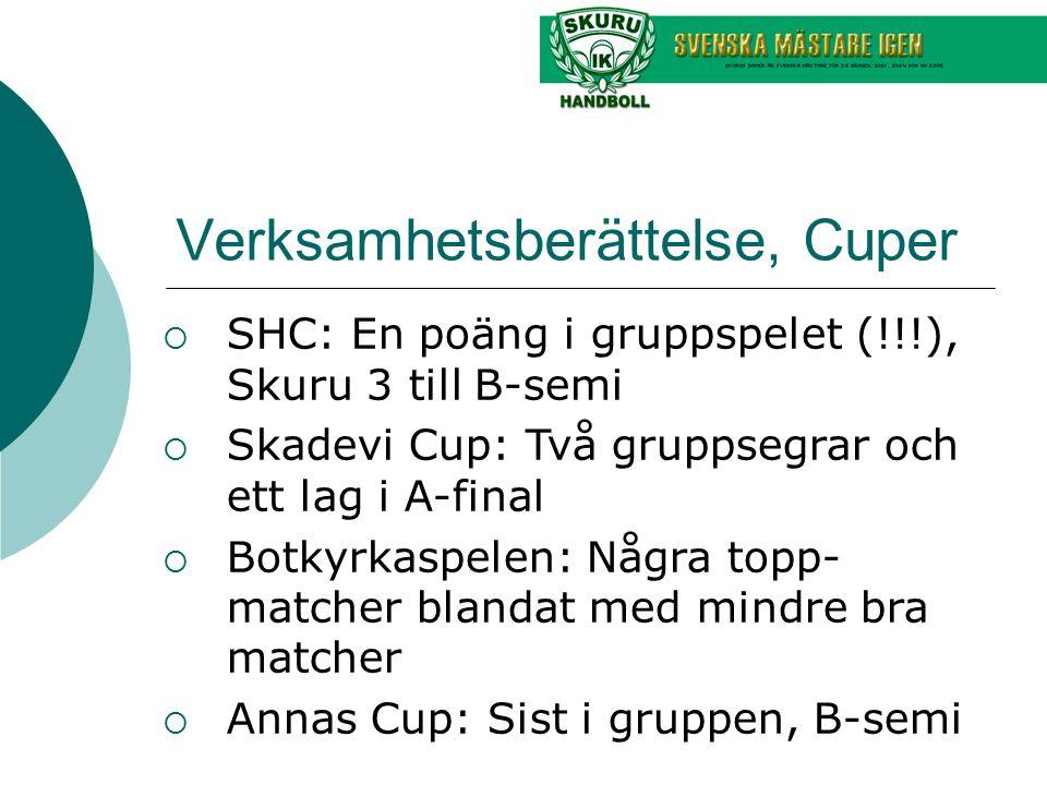 Verksamhetsberättelse, Cuper  SHC: En poäng i gruppspelet (!!!), Skuru 3 till B-semi  Skadevi Cup: Två gruppsegrar och ett lag i A-final  Botkyrkas