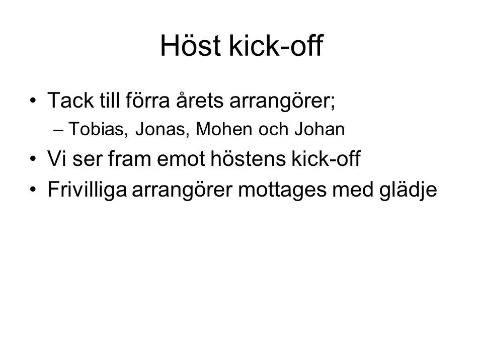Höst kick-off Tack till förra årets arrangörer; –Tobias, Jonas, Mohen och Johan Vi ser fram emot höstens kick-off Frivilliga arrangörer mottages med glädje