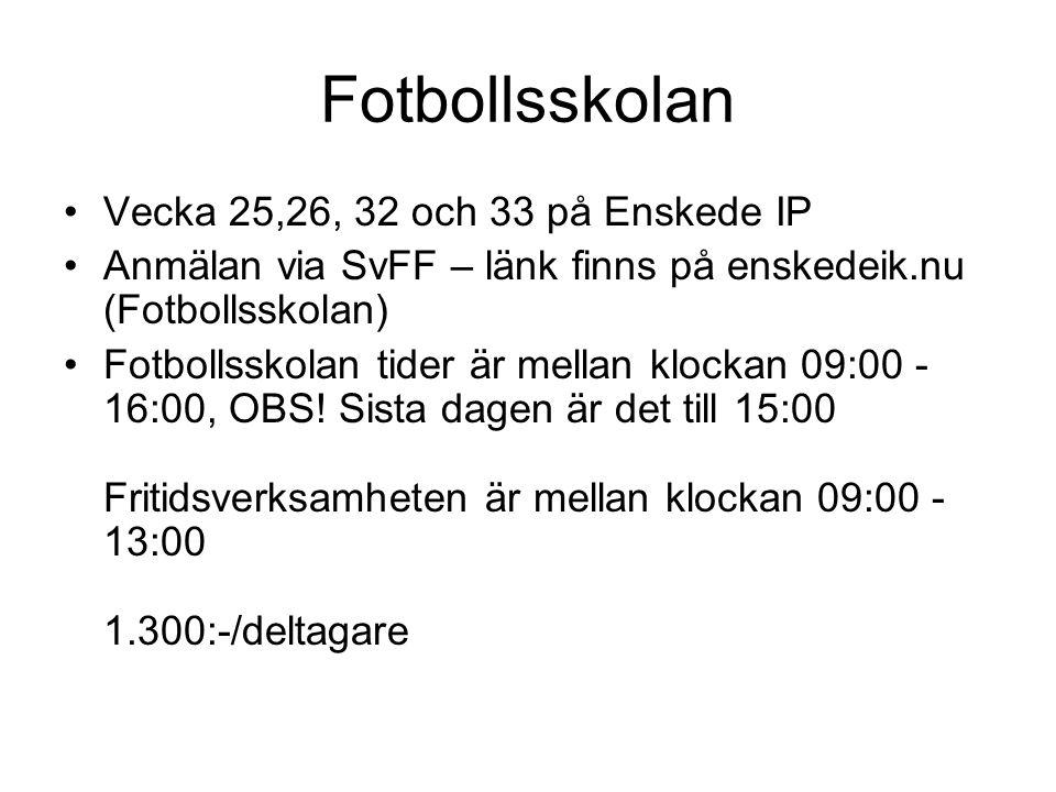 Fotbollsskolan Vecka 25,26, 32 och 33 på Enskede IP Anmälan via SvFF – länk finns på enskedeik.nu (Fotbollsskolan) Fotbollsskolan tider är mellan klockan 09:00 - 16:00, OBS.