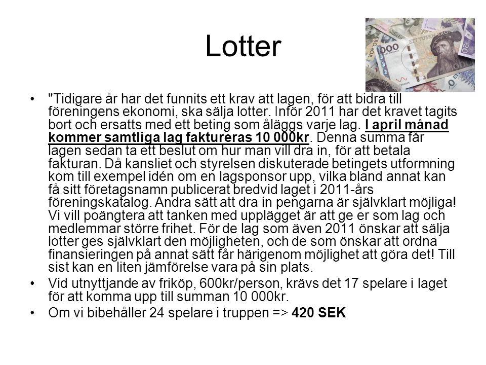 Lotter Tidigare år har det funnits ett krav att lagen, för att bidra till föreningens ekonomi, ska sälja lotter.
