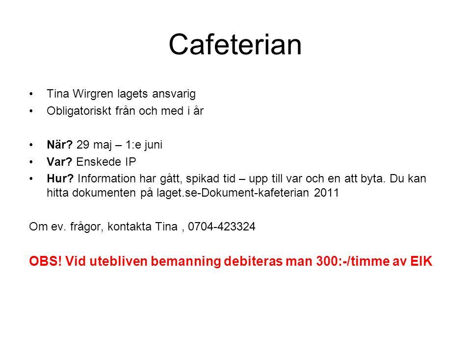 Cafeterian Tina Wirgren lagets ansvarig Obligatoriskt från och med i år När.