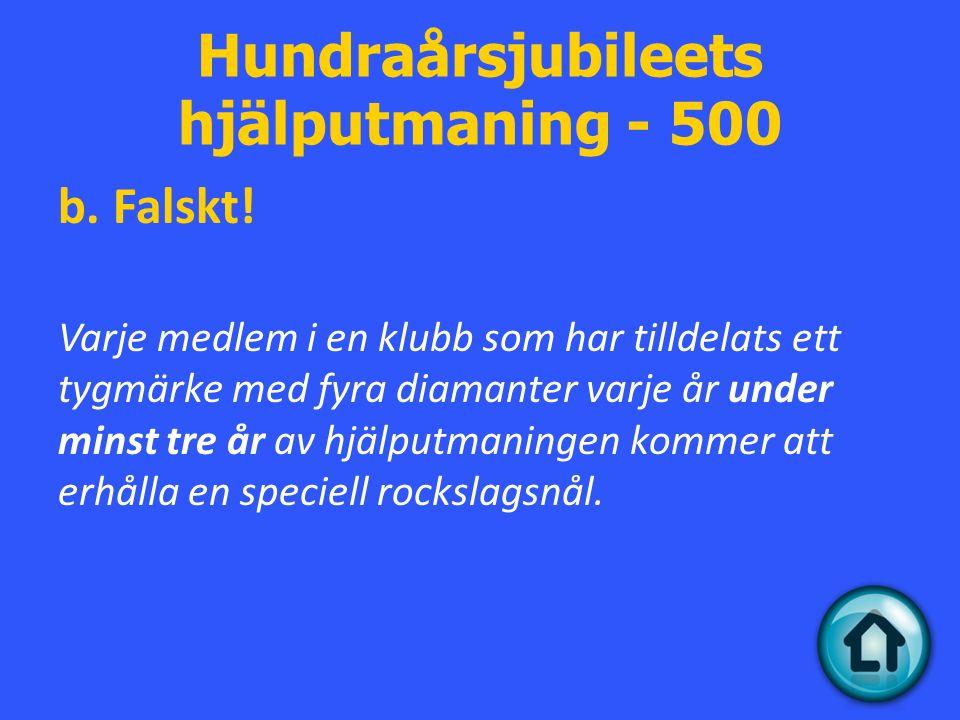 Hundraårsjubileets hjälputmaning - 500 b. Falskt.