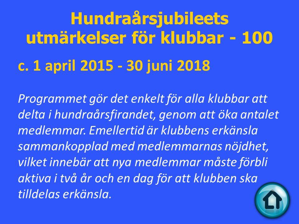 Hundraårsjubileets utmärkelser för klubbar - 100 c.