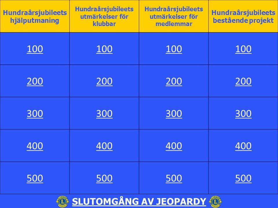 Hundraårsjubileets hjälputmaning Hundraårsjubileets utmärkelser för klubbar Hundraårsjubileets utmärkelser för medlemmar Hundraårsjubileets bestående projekt 100 200 300 400 500 SLUTOMGÅNG AV JEOPARDY
