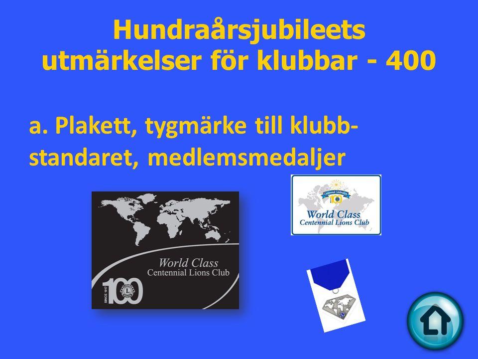 Hundraårsjubileets utmärkelser för klubbar - 400 a.
