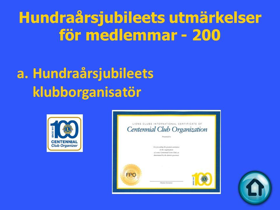 Hundraårsjubileets utmärkelser för medlemmar - 200 a.Hundraårsjubileets klubborganisatör