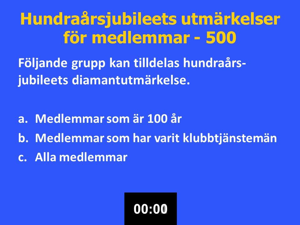 Hundraårsjubileets utmärkelser för medlemmar - 500 Följande grupp kan tilldelas hundraårs- jubileets diamantutmärkelse.