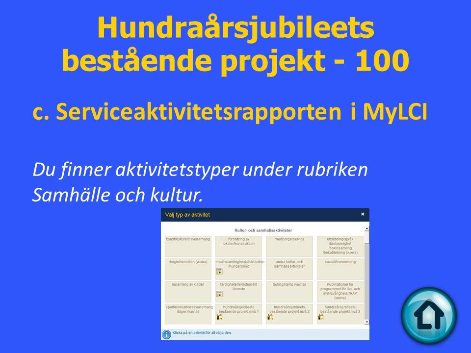 Hundraårsjubileets bestående projekt - 100 c.