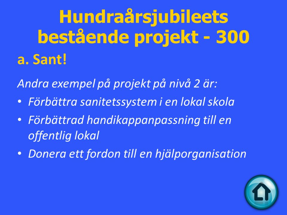 Hundraårsjubileets bestående projekt - 300 a. Sant.