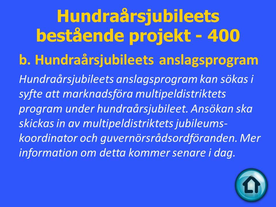 Hundraårsjubileets bestående projekt - 400 b.