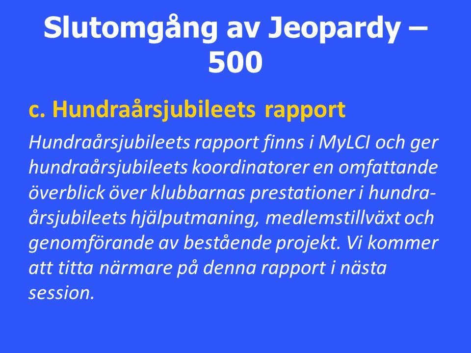 Slutomgång av Jeopardy – 500 c.
