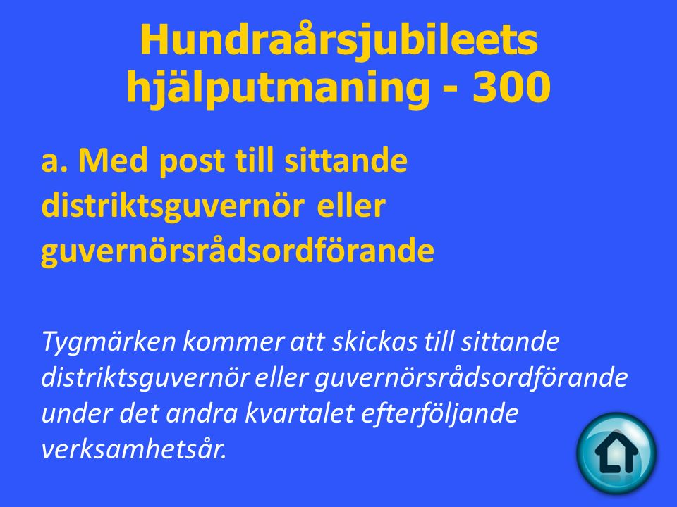 Hundraårsjubileets hjälputmaning - 300 a.