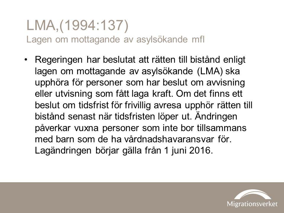 LMA,(1994:137) Lagen om mottagande av asylsökande mfl Regeringen har beslutat att rätten till bistånd enligt lagen om mottagande av asylsökande (LMA) ska upphöra för personer som har beslut om avvisning eller utvisning som fått laga kraft.