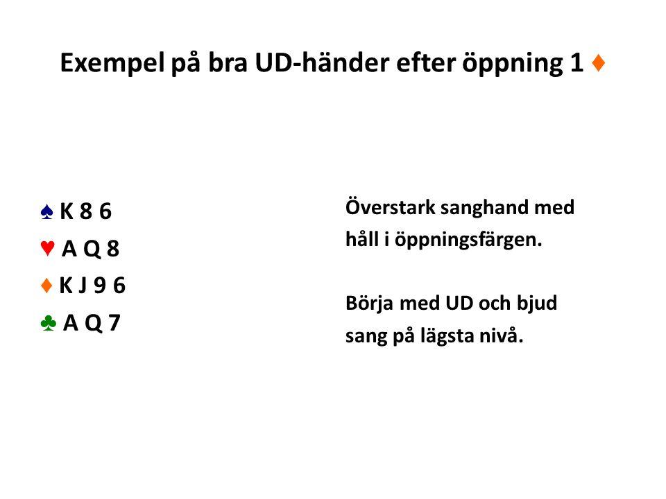 Exempel på bra UD-händer efter öppning 1 ♦ ♠ K 8 6 ♥ A Q 8 ♦ K J 9 6 ♣ A Q 7 Överstark sanghand med håll i öppningsfärgen.