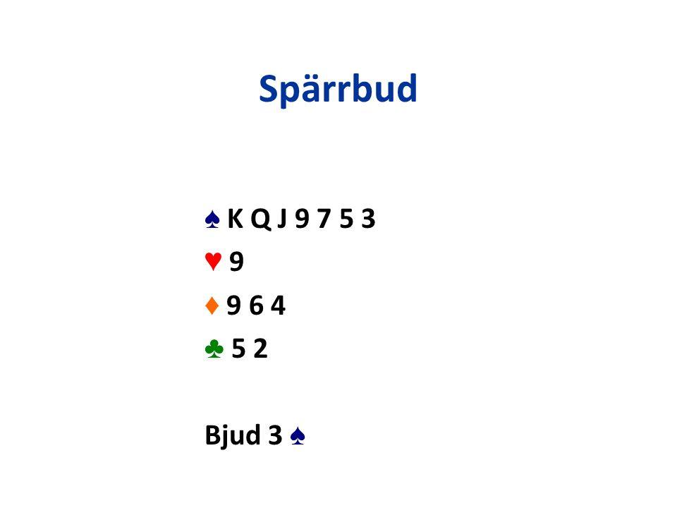 ♠ K Q J 9 7 5 3 ♥ 9♥ 9 ♦ 9 6 4 ♣ 5 2 Bjud 3 ♠