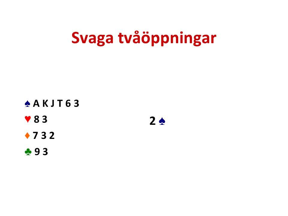 Svaga tvåöppningar ♠ A K J T 6 3 ♥ 8 3 ♦ 7 3 2 ♣ 9 3 2 ♠